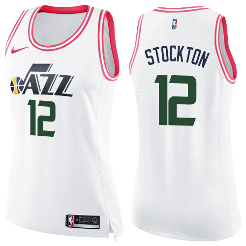 Nike Jazz #12 John Stockton White/Pink Women's NBA Swingman Fashion Jersey