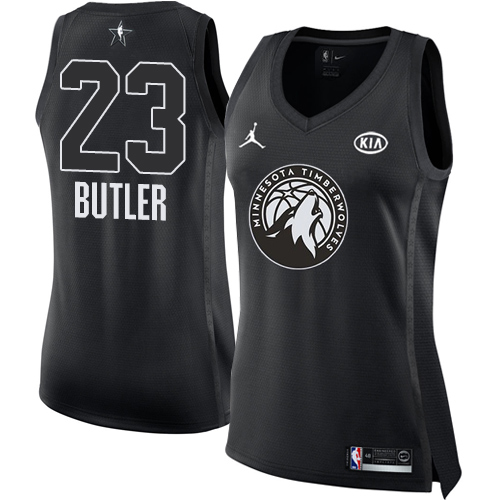 Nike Timberwolves #23 Jimmy Butler Black Women's NBA Jordan Swingman 2018 All-Star Game Jersey