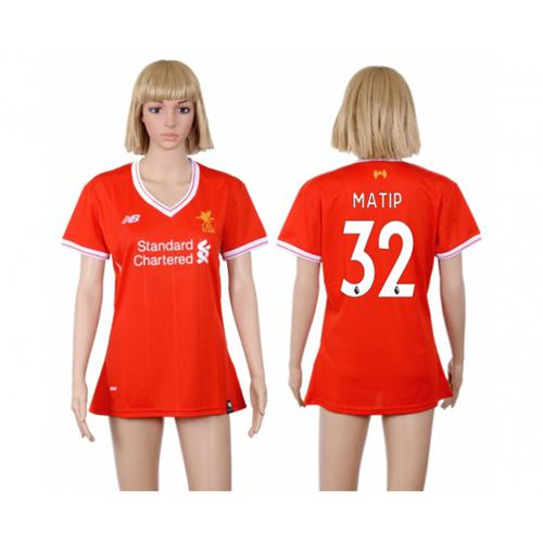 Women's Liverpool #32 Matip Red Home Soccer Club Jersey