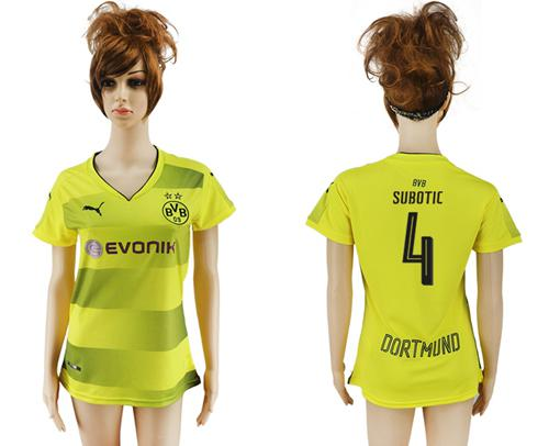 Women's Dortmund #4 Subotic Home Soccer Club Jersey