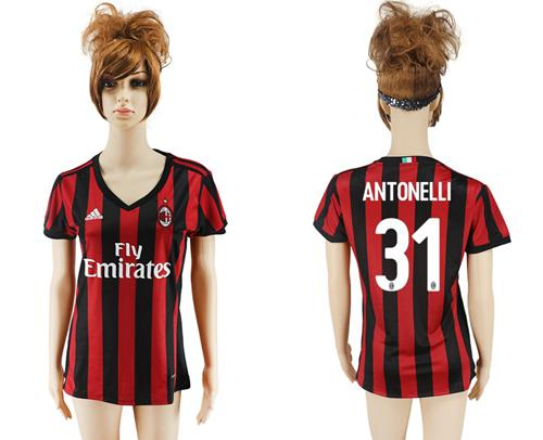 Women's AC Milan #31 Antonelli Home Soccer Club Jersey