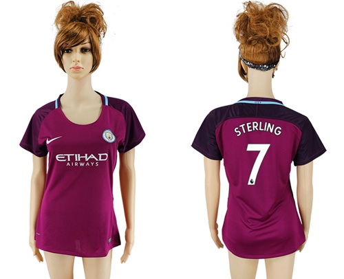Women's Manchester City #7 Sterling Away Soccer Club Jersey