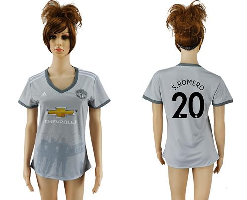 Women's Manchester United #20 S.Romero Sec Away Soccer Club Jersey