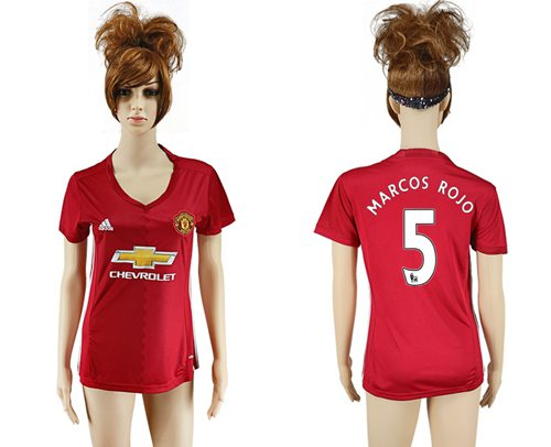 Women's Manchester United #5 Marcos Rojo Red Home Soccer Club Jersey