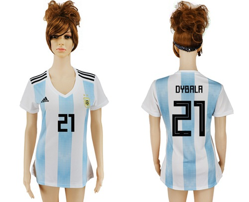 Women's Argentina #21 Dybala Home Soccer Country Jersey