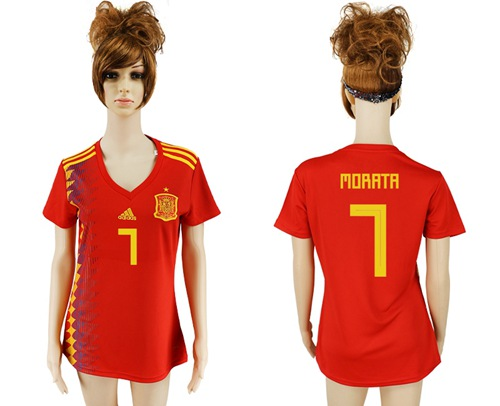 Women's Spain #7 Morata Red Home Soccer Country Jersey