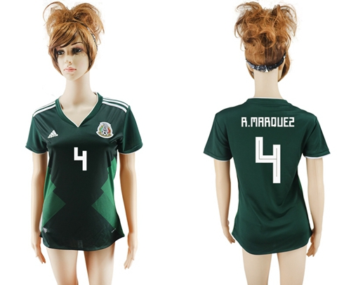 Women's Mexico #4 R.Marquez Home Soccer Country Jersey