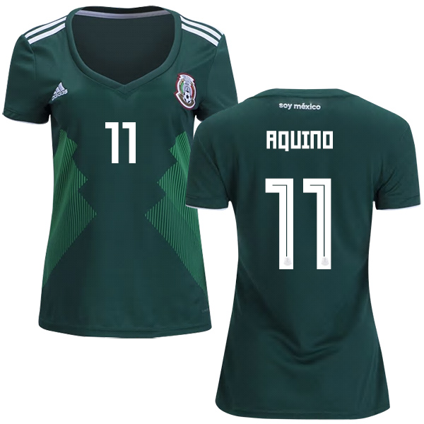 Women's Mexico #11 Aquino Home Soccer Country Jersey