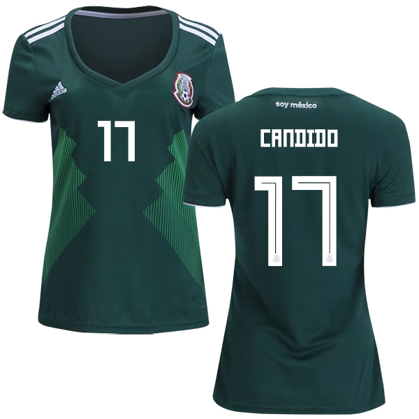 Women's Mexico #17 Candido Home Soccer Country Jersey