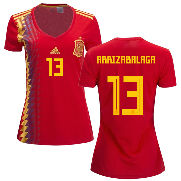 Women's Spain #13 Arrizabalaga Red Home Soccer Country Jersey