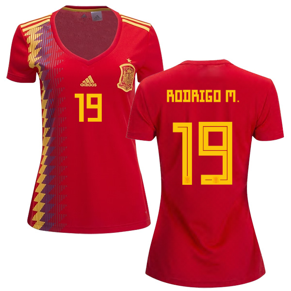 Women's Spain #19 Rodrigo M. Red Home Soccer Country Jersey
