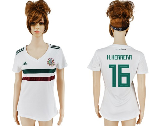 Women's Mexico #16 H.Herrera Away Soccer Country Jersey