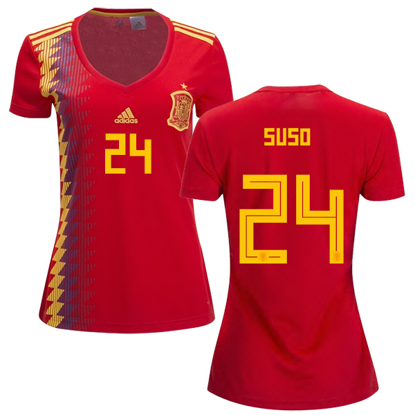 Women's Spain #24 Suso Red Home Soccer Country Jersey