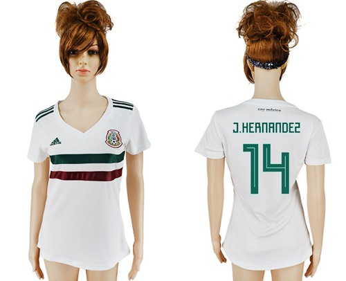 Women's Mexico #14 J.Hernandez Away Soccer Country Jersey