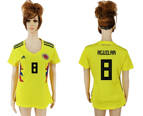 Women's Colombia #8 Aguilar Home Soccer Country Jersey