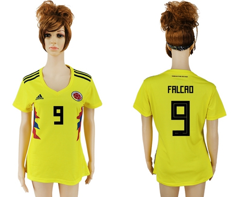 Women's Colombia #9 Falcao Home Soccer Country Jersey
