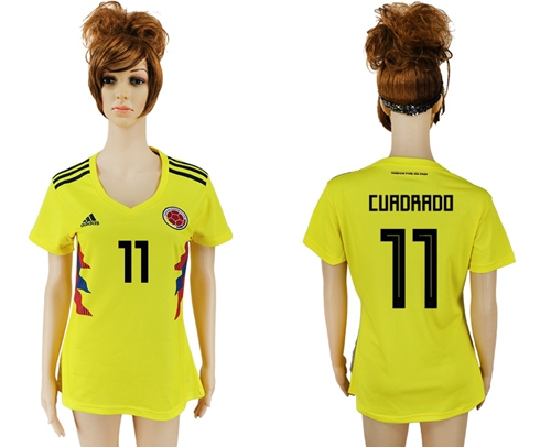 Women's Colombia #11 Cuadrado Home Soccer Country Jersey