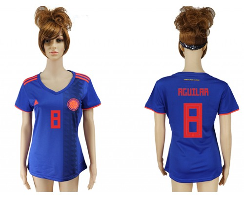 Women's Colombia #8 Aguilar Away Soccer Country Jersey