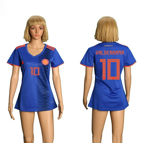 Women's Colombia #10 Valderrama Away Soccer Country Jersey