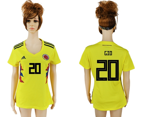 Women's Colombia #20 GIO Home Soccer Country Jersey