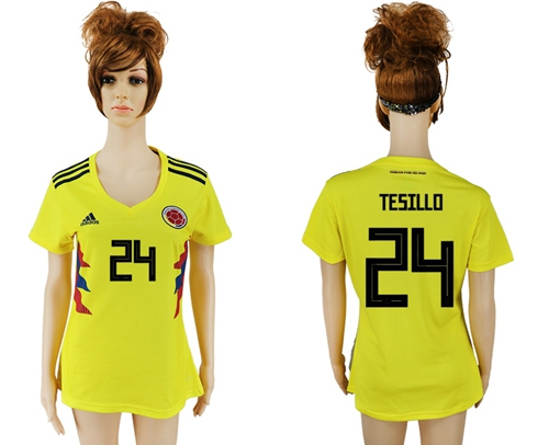 Women's Colombia #24 Tesillo Home Soccer Country Jersey
