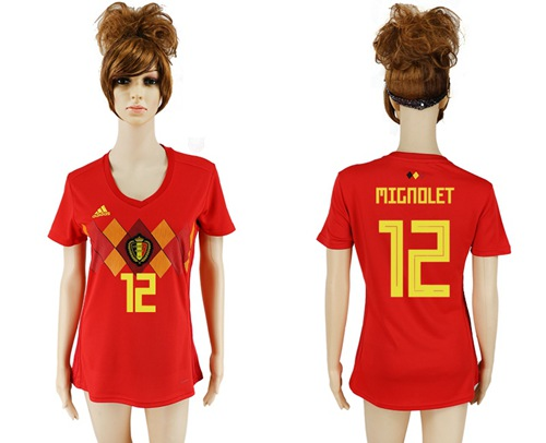 Women's Belgium #12 Mignolet Red Home Soccer Country Jersey
