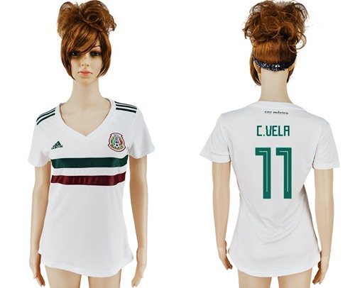 Women's Mexico #11 C.Vela Away Soccer Country Jersey
