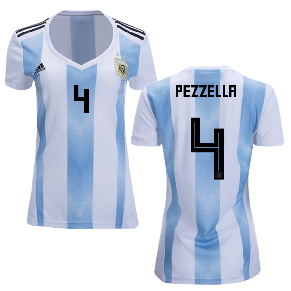 Women's Argentina #4 Pezzella Home Soccer Country Jersey