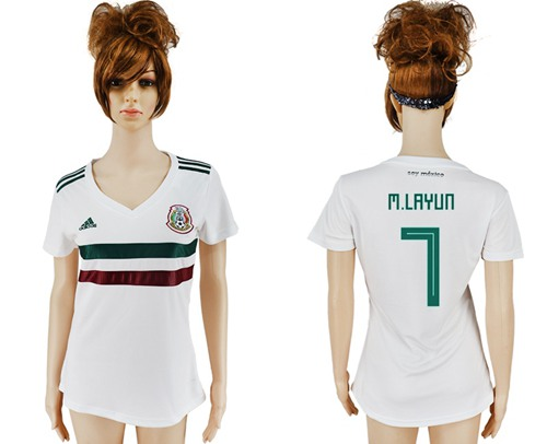 Women's Mexico #7 M.Layun Away Soccer Country Jersey