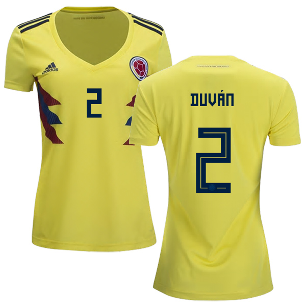 Women's Colombia #2 Duvan Home Soccer Country Jersey