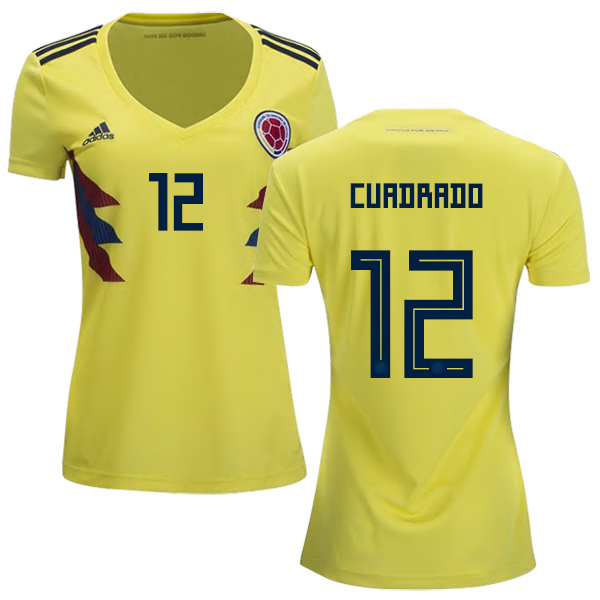 Women's Colombia #12 Cuadrado Home Soccer Country Jersey