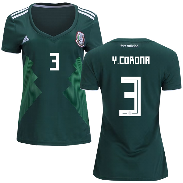 Women's Mexico #3 Y.Corona Home Soccer Country Jersey