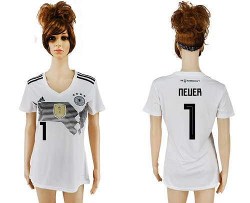 Women's Germany #1 Neuer White Home Soccer Country Jersey