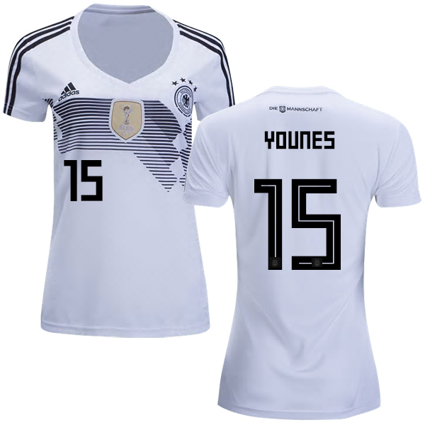 Women's Germany #15 Younes White Home Soccer Country Jersey