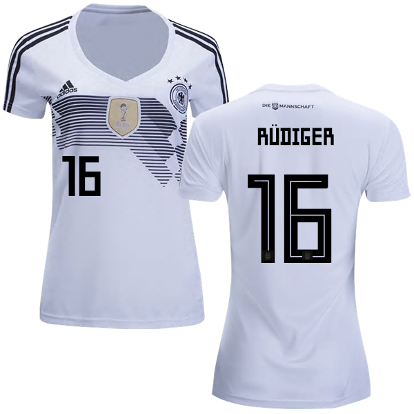 Women's Germany #16 Rudiger White Home Soccer Country Jersey