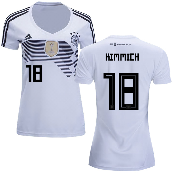 Women's Germany #18 Kimmich White Home Soccer Country Jersey
