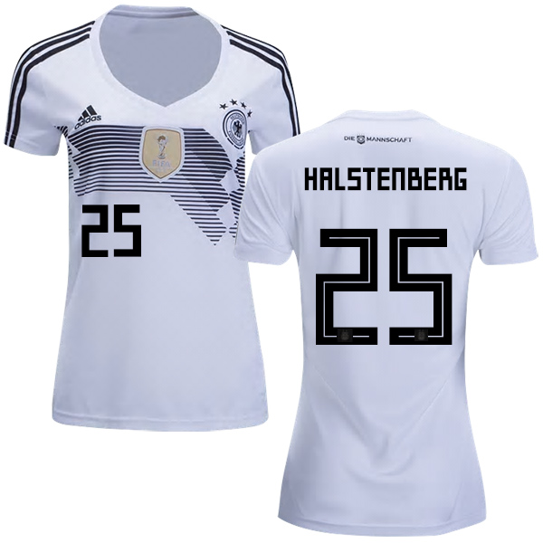 Women's Germany #25 Halstenberg White Home Soccer Country Jersey