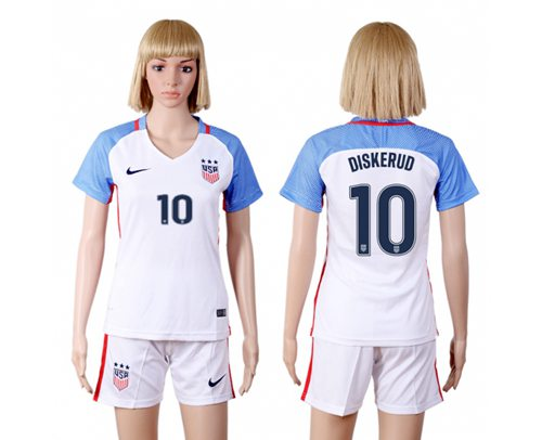 Women's USA #10 Diskerud Home(Three Star) Soccer Country Jersey