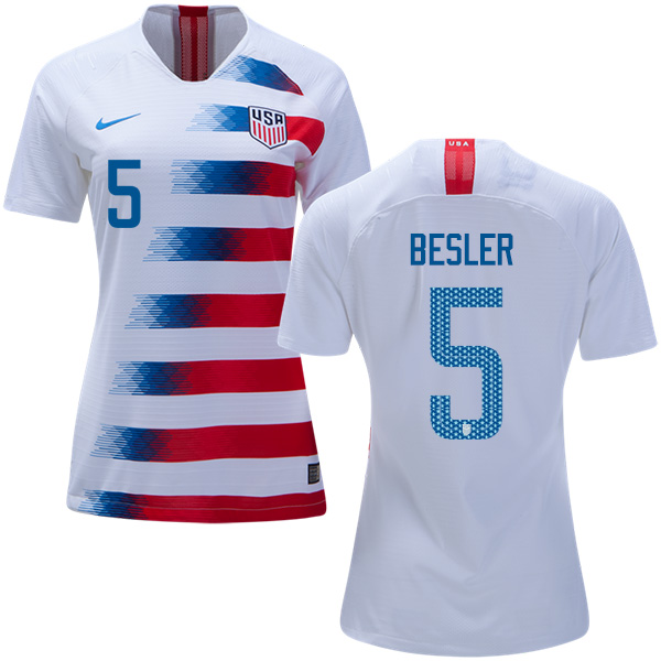 Women's USA #5 Besler Home Soccer Country Jersey