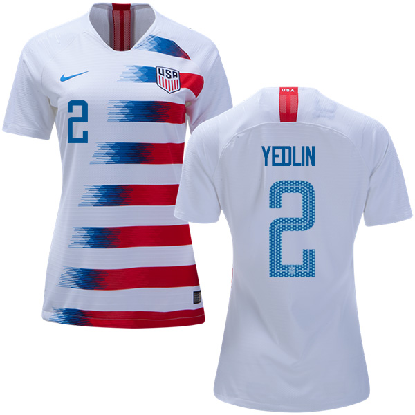 Women's USA #2 Yedlin Home Soccer Country Jersey