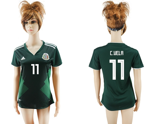 Women's Mexico #11 C.Vela Home Soccer Country Jersey