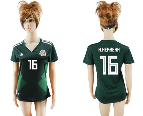 Women's Mexico #16 H.Herrera Home Soccer Country Jersey