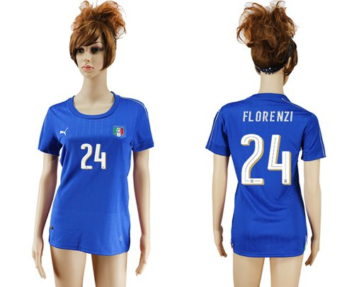 Women's Italy #24 Florenzi Home Soccer Country Jersey
