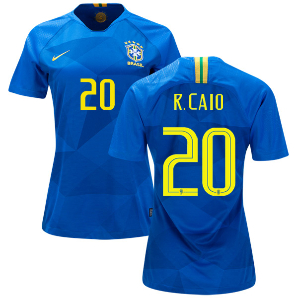 Women's Brazil #20 R.Caio Away Soccer Country Jersey