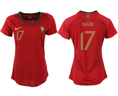 Women's Portugal #17 Nani Home Soccer Country Jersey
