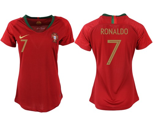 Women's Portugal #7 Ronaldo Home Soccer Country Jersey