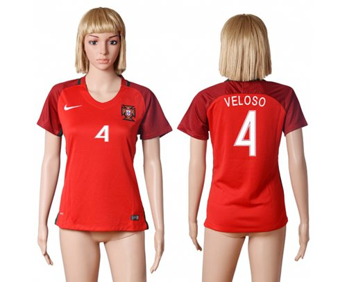 Women's Portugal #4 Veloso Home Soccer Country Jersey