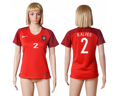 Women's Portugal #2 B.Alves Home Soccer Country Jersey
