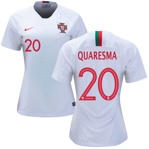 Women's Portugal #20 Quaresma Away Soccer Country Jersey