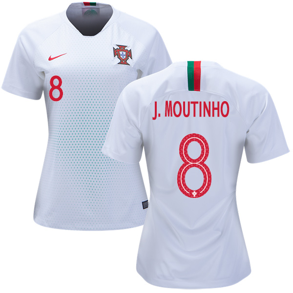 Women's Portugal #8 J.Moutinho Away Soccer Country Jersey